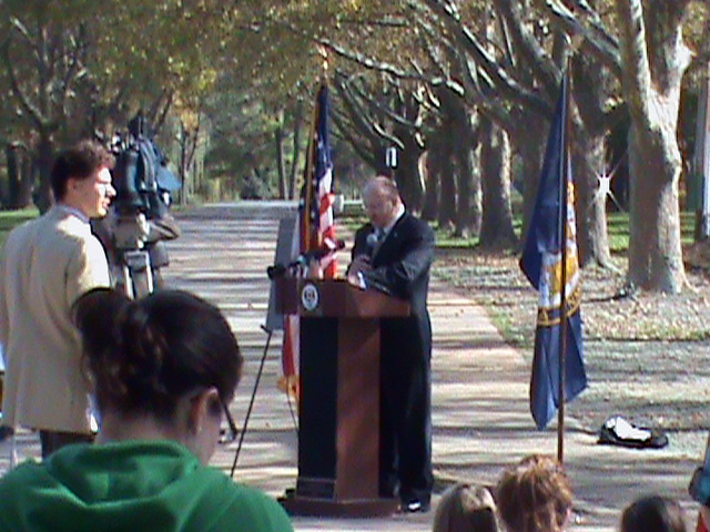 Allentown Mayor Ed Pawlowski speaks at the opening of the Cedar Beach Park playground in Cedar Creek Park on Oct. 25, 2010. It is the first handicap-accessible playground in Allentown, giving all children equal access to fun.
