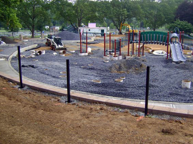 The playground starts to take shape
