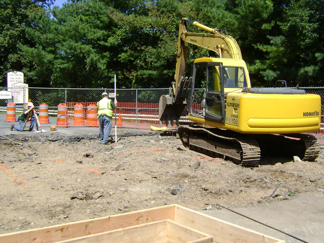 Saw Creek Estates gatehouse project site work